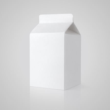 White blank milk carton package on gray background with clipping path