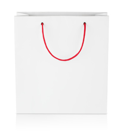 Square shopping bag isolated on white with clipping path photo