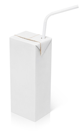 200 ml milk or juice carton package with straw isolated on white with clipping path photo