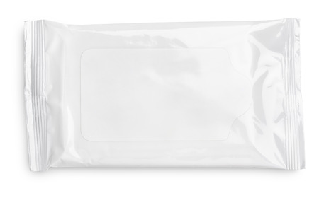 Wet wipes package with flap isolated on white background photo