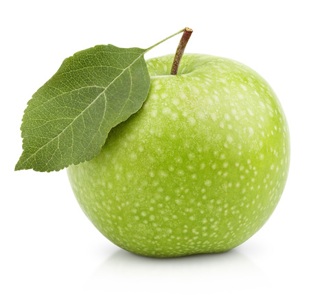 Ripe green apple with leaf isolated on a white background with clipping path photo