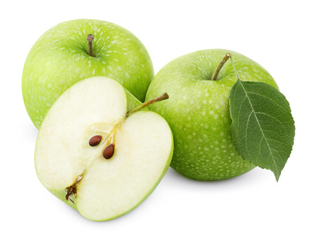 Ripe green apples with leaf and half isolated on white background with clipping path photo