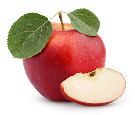 Ripe red apple with green leaves and slice isolated on white background 스톡 콘텐츠
