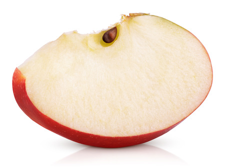 Red apple slice isolated on white background