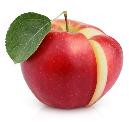 Ripe red apple with green leaf and cut isolated on white background with clipping path Banque d'images