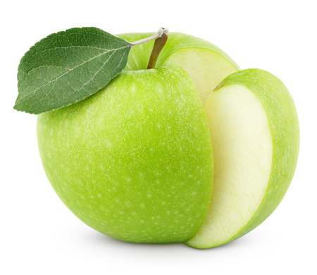 snip: Ripe green apple with leaf and cut isolated on white background with clipping path