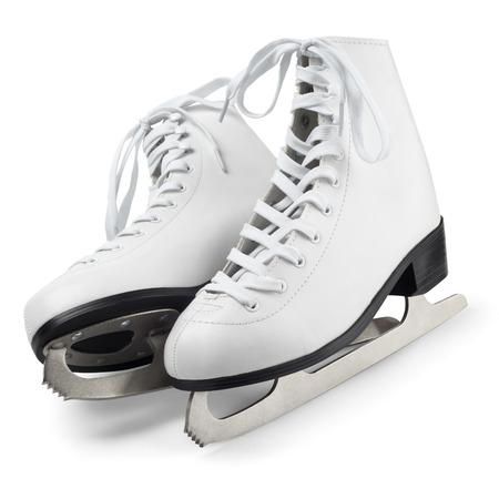 patinaje sobre hielo: Figura patines aislados en blanco con trazado de recorte