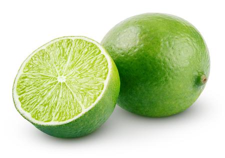 Frische Limette Zitrusfrüchten und Scheibe isoliert auf weißem Hintergrund mit Beschneidungspfad Standard-Bild - 30181908