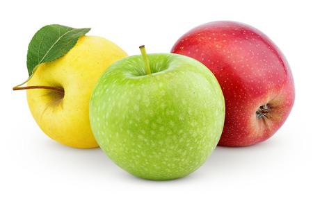クリッピング パスと白で分離された緑・黄・赤のリンゴ
