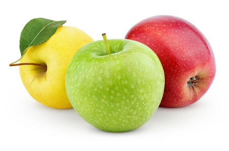 Yellow, green and red apples isolated on white with clipping path photo