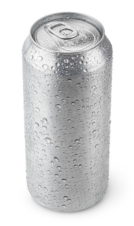 500 ml aluminum beer can with water drops isolated on white Stock Photo