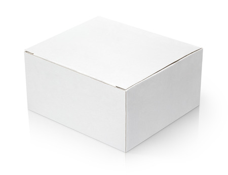 closed box: Closed cardboard box isolated on white background Stock Photo