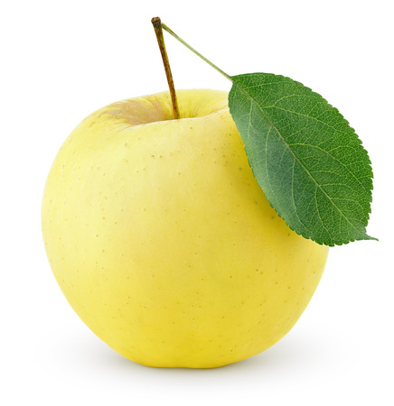 Ripe yellow apple with leaf isolated on a white background with clipping path