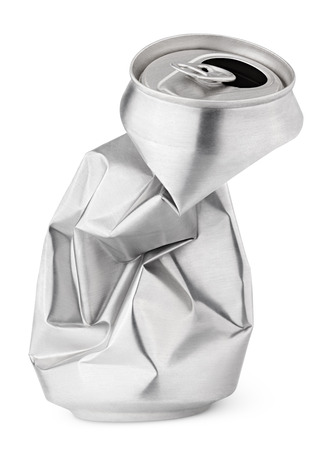 Crumpled empty blank beer can garbage isolated on white background with clipping path