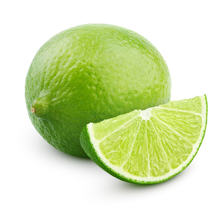 Citrus lime fruit with slice isolated on white background with clipping path