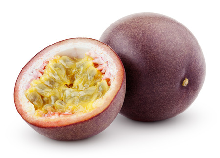 Passion fruit with cut isolated on white with clipping path