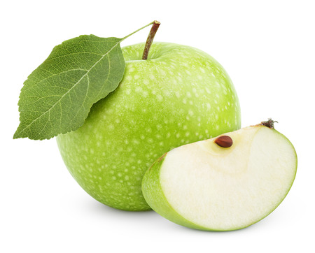 Ripe green apple with leaf and slice isolated on a white background with clipping path Archivio Fotografico