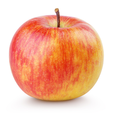 Red yellow apple isolated on white with clipping path Banque d'images