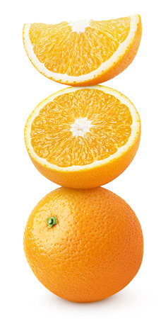 Pyramid of orange citrus fruit isolated on white with clipping path photo