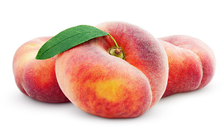 Three chinese flat donut peaches with leaf isolated on white with clipping path