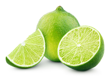 Citrus lime fruit with slice and half isolated on white background with clipping path