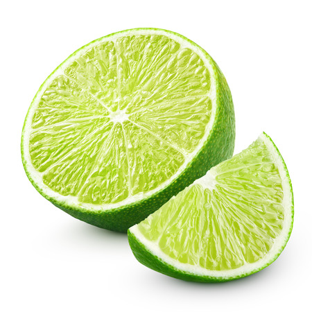 Half and slice of lime citrus fruit isolated on white background with clipping path
