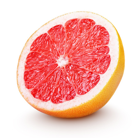 Half grapefruit citrus fruit isolated on white with clipping path Фото со стока