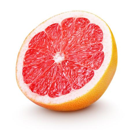 citricos: La mitad de toronja c�tricos aislado en blanco con trazado de recorte