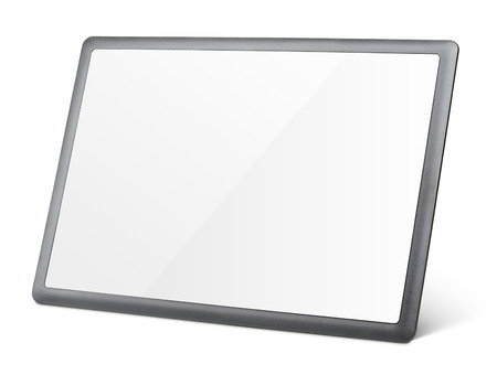 fullhd: Modern black tablet pc isolated on white with clipping path
