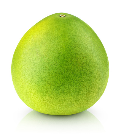 citrus maxima: Green pomelo citrus fruit isolated on white with clipping path Stock Photo