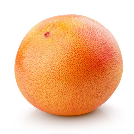 Single grapefruit citrus fruit isolated on white with clipping path Фото со стока