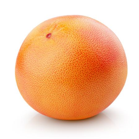 Single grapefruit citrusvruchten die op wit met het knippen van weg
