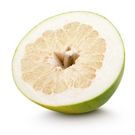 citrus maxima: Half pomelo citrus fruit isolated on white with clipping path Stock Photo