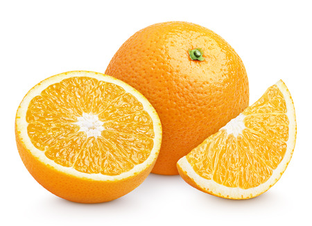 Orange citrus fruit with cut isolated on white with clipping path