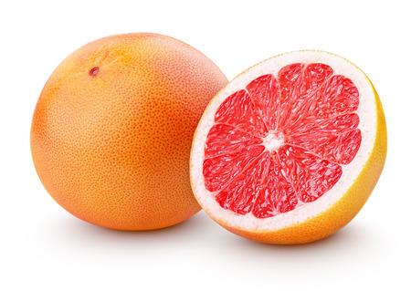 toronja: Frutos c�tricos de pomelo con la mitad aislados en blanco con trazado de recorte