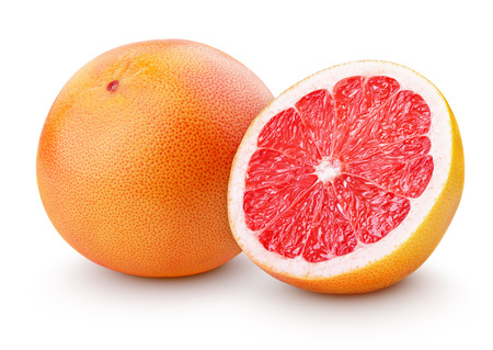 grapefruit: Grapefruit citrus fruit with half isolated on white with clipping path Stock Photo