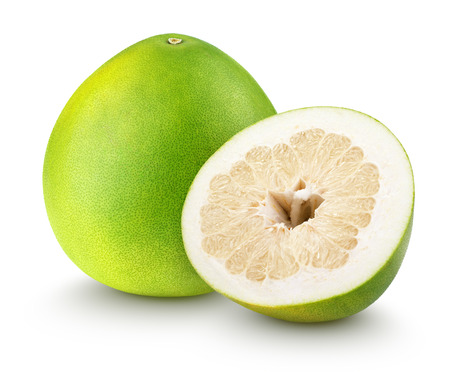 citrus maxima: Green pomelo citrus fruit with cut isolated on white with clipping path