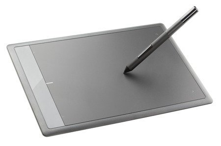 wacom: Modern graphic tablet isolated on white background Stock Photo