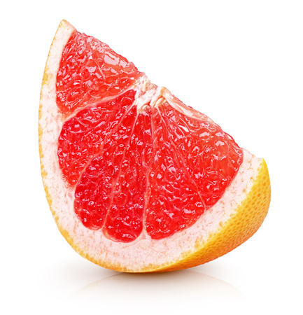 Slice of grapefruit citrus fruit isolated on white  스톡 콘텐츠