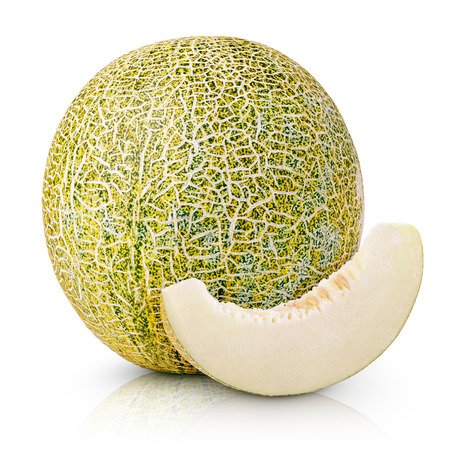 Ripe melon with slice isolated on white background photo