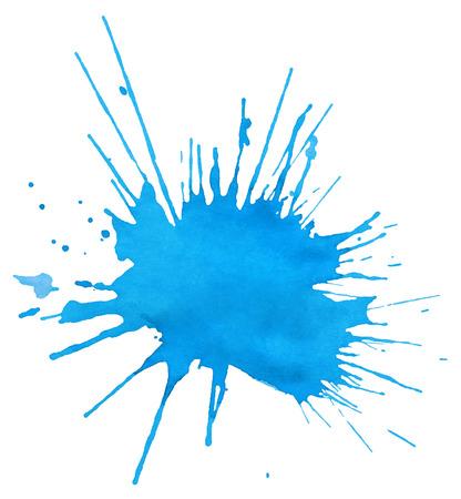 青い水彩で孤立した白い背景のしみ