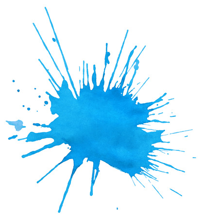 Blot of blue watercolor isolated on white background Vettoriali