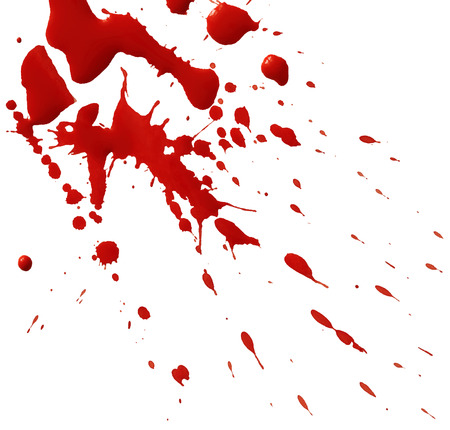 spatters: Drop of red blood isolated on white background Illustration