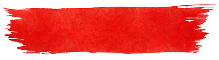 Red stroke of watercolor paint brush isolated on white Vettoriali