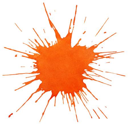 オレンジ色の塗装が白い背景で隔離のしみ  イラスト・ベクター素材