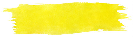 paint brush stroke: Yellow stroke of watercolor paint brush isolated on white