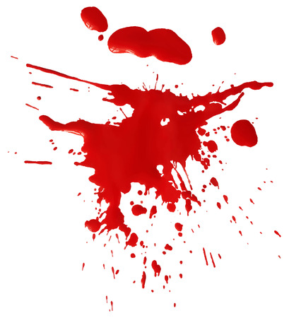 spatter: Drop of red blood isolated on white background Illustration