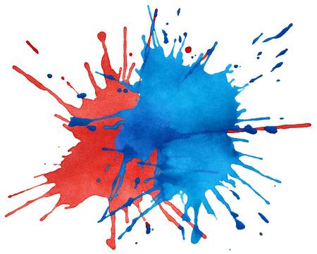青と赤の水彩画を白で隔離のしみ