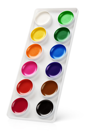 paintbox: Simple watercolor paints in box isolated on white background with clipping path