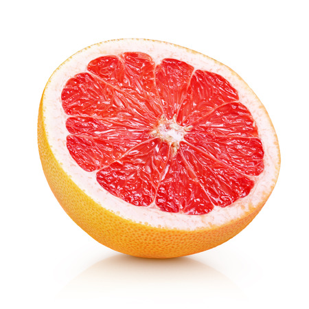 Half grapefruit citrus fruit isolated on white with clipping path 스톡 콘텐츠